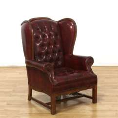 White Leather Wingback Chair Infant Bath Tub Red Tufted Armchair W Nailhead Trim Loveseat