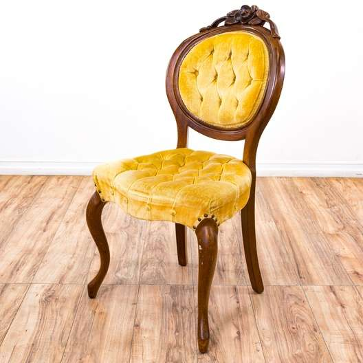 Yellow Velvet Tufted Balloon Back Accent Chair 1