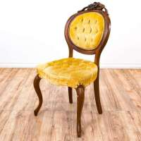 Yellow Velvet Tufted Balloon Back Accent Chair 1 ...