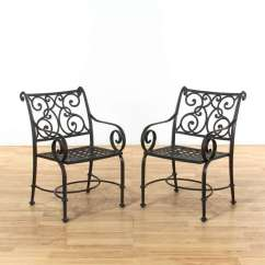 Black Patio Chairs Buttoned Leather Chair Pair Of Loveseat Vintage Furniture La Auction