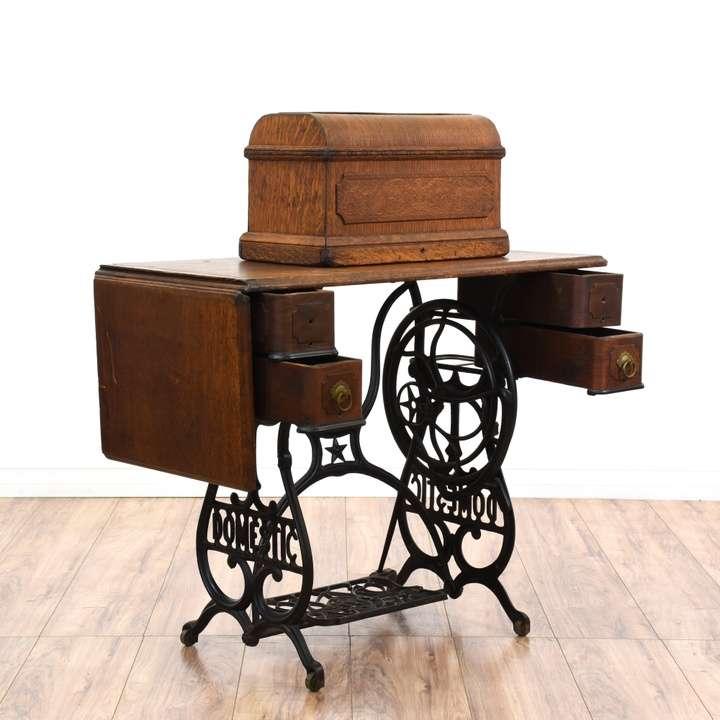 Domestic Treadle Sewing Machine Cabinet Loveseat