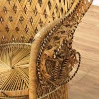 Bohemian Wicker Large Peacock Chair   Loveseat Vintage ...