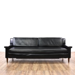 Black Vinyl Futon Sofa Free Camping At Sofala Mid Century Modern Roll Out Bed