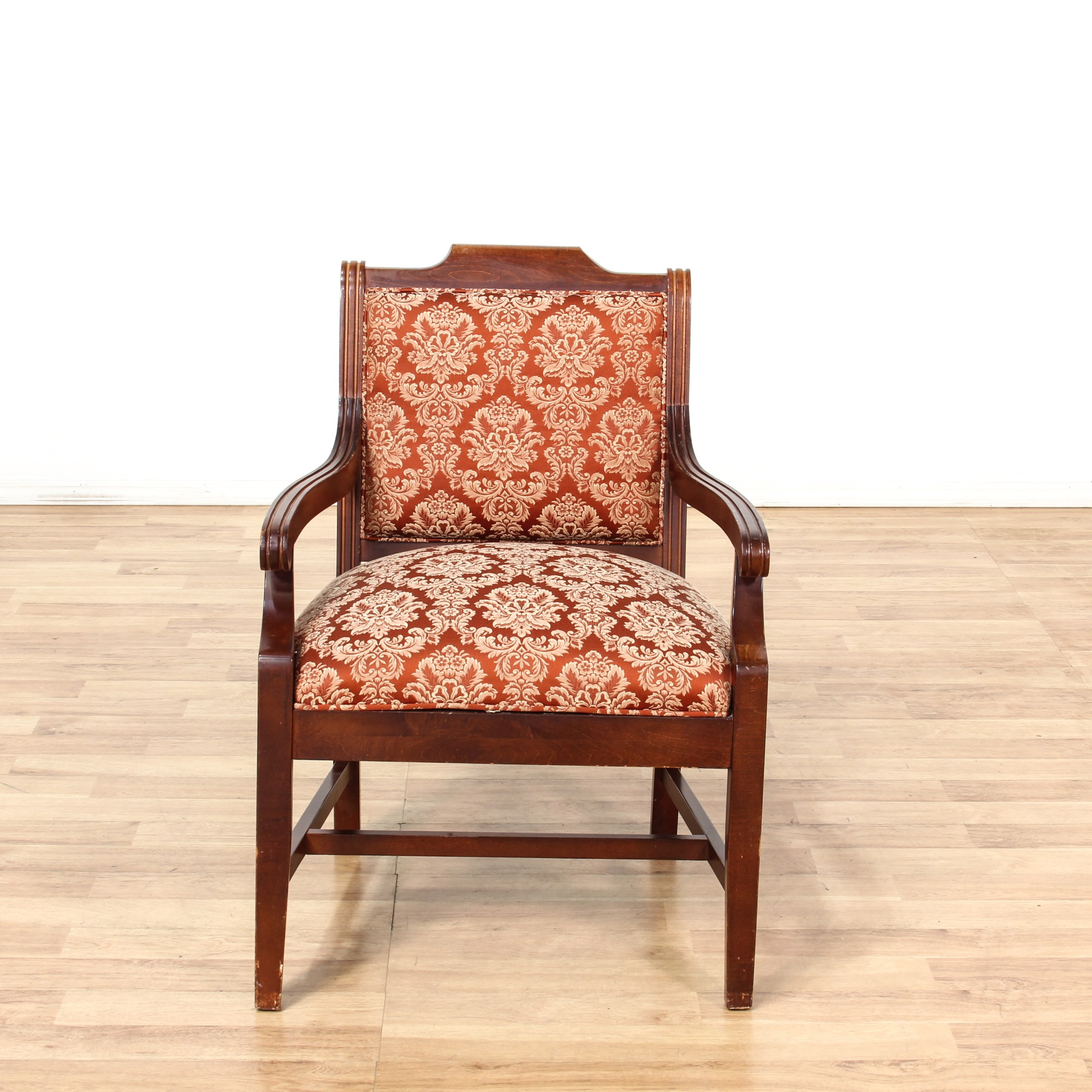 Mahogany Stained Floral Upholstered Arm Chair Loveseat