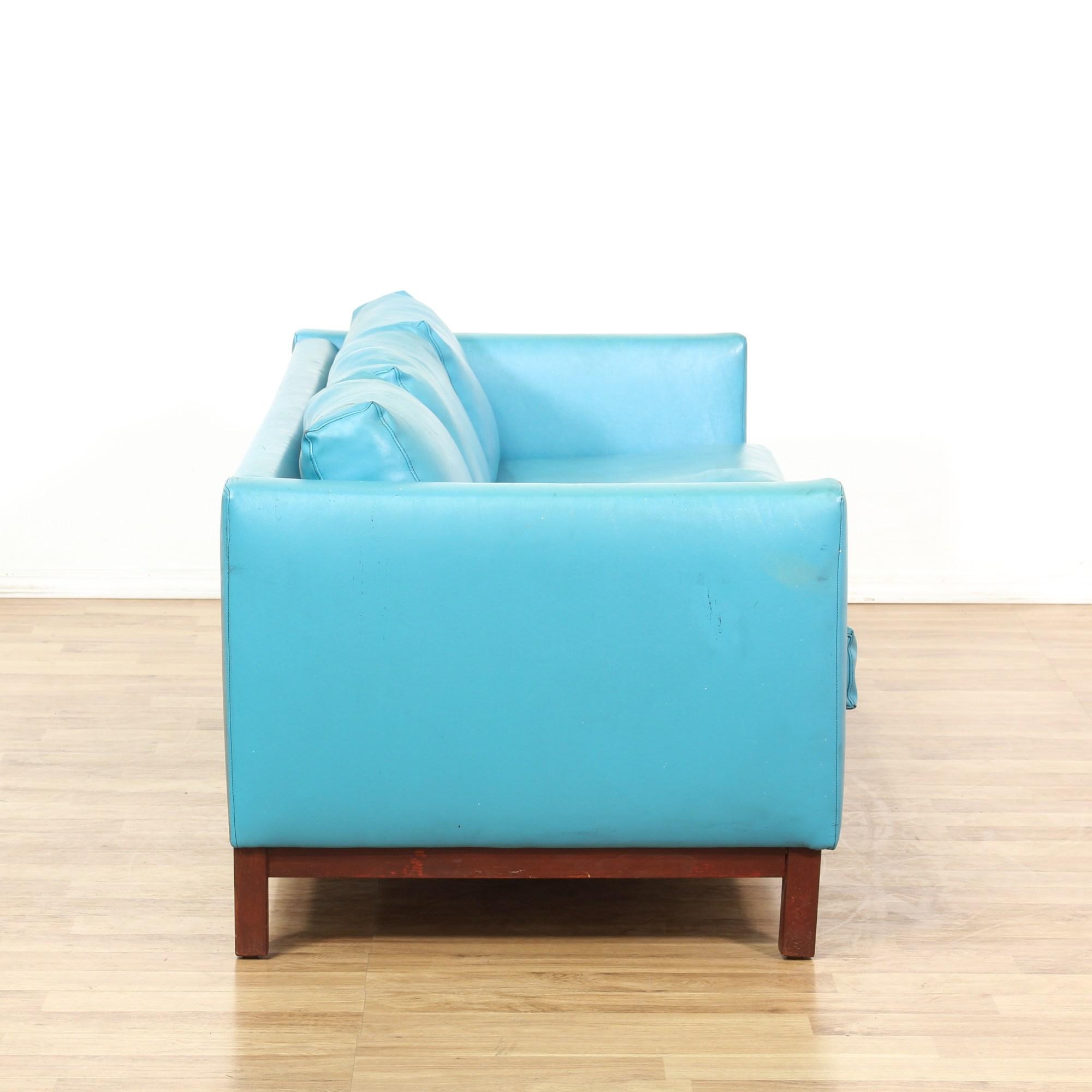 Mid Century Modern Blue Vinyl Sofa Amp Double Chair