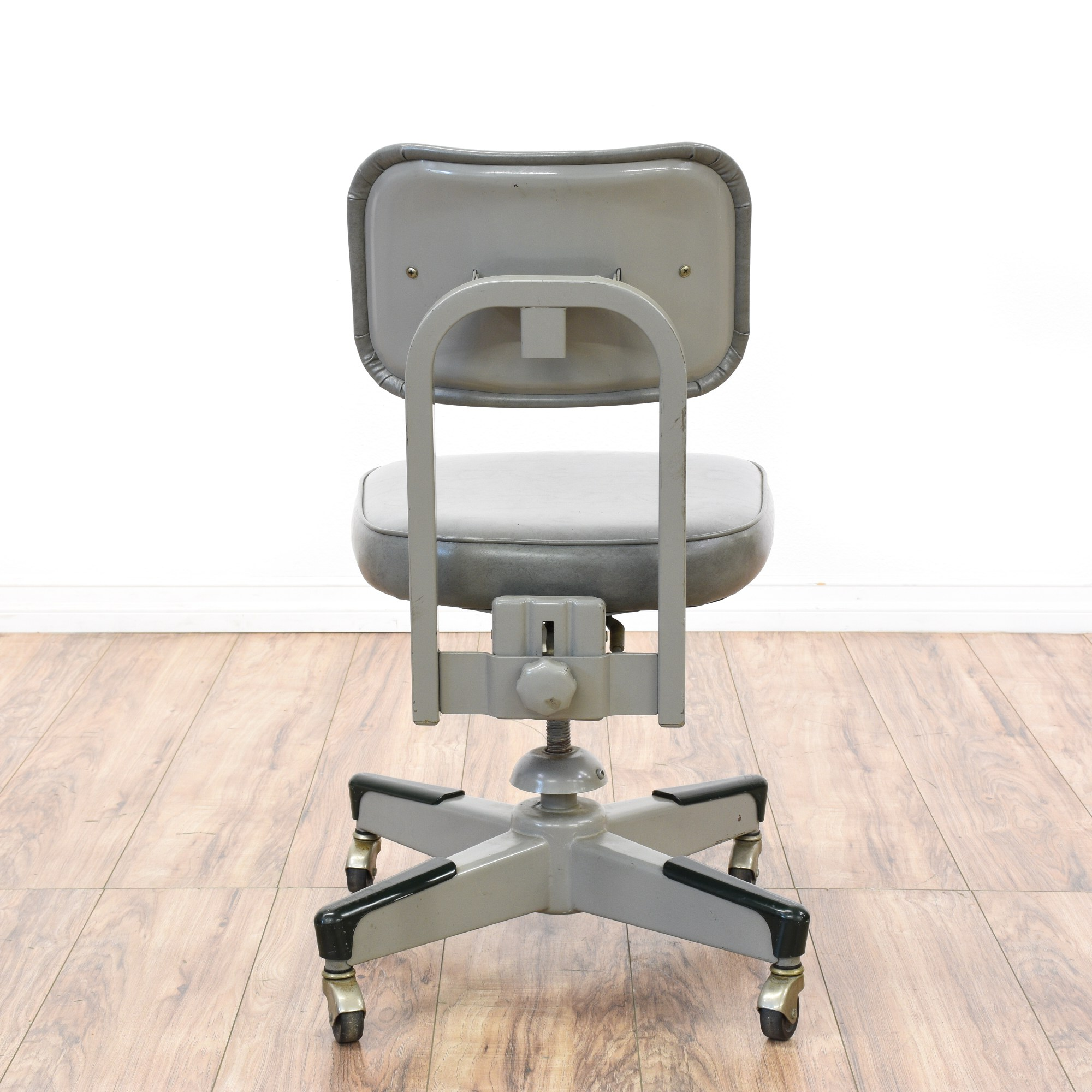 Industrial Office Chair Retro Industrial Gray Vinyl And Metal Office Chair