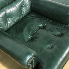Dark Green Recliner Chair White French Bistro Dining Chairs 2 Leather Upholstered And Ottoman Loveseat