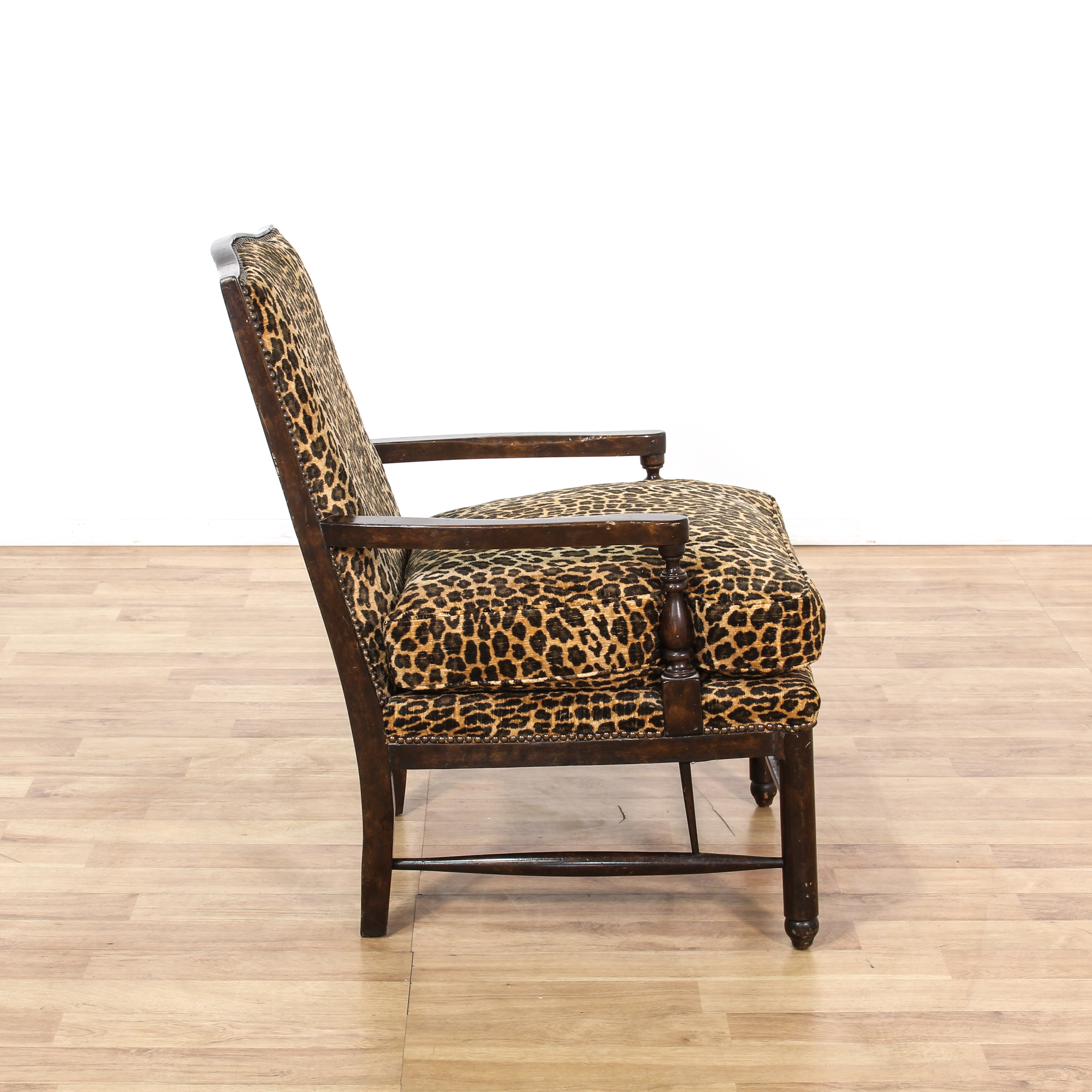 animal print accent chairs two seat leopard carved wood chair loveseat vintage