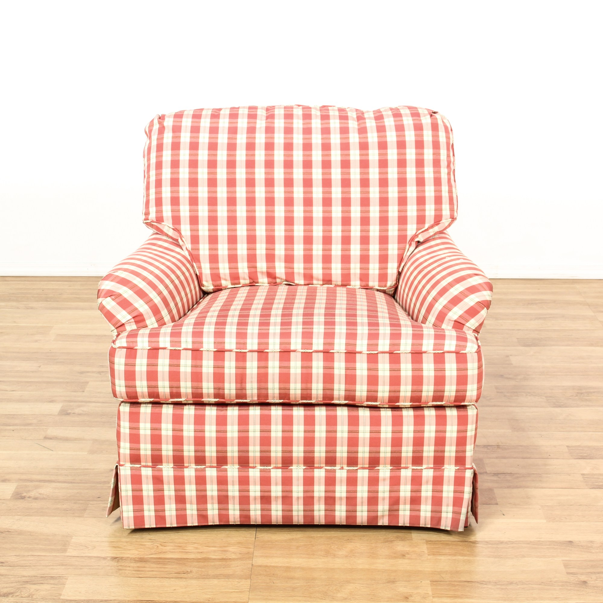 Gingham Chair Red And White Plaid Gingham Print Armchair Loveseat