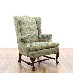 Ethan Allen Wingback Chairs Canvas Beach Quotethan Quot Zigzag Armchair Loveseat Vintage