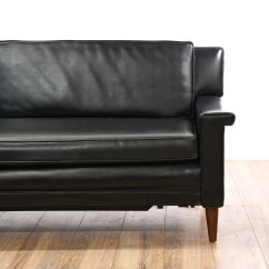 Black Vinyl Futon Sofa Large Chaise Sofas Mid Century Modern Roll Out Bed