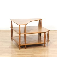 Maple Mid Century Modern Tiered Corner End Table ...