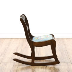 Child Sized Chairs Wheelchair Lift Rental Rocking Chair W Embroidered Seat Loveseat