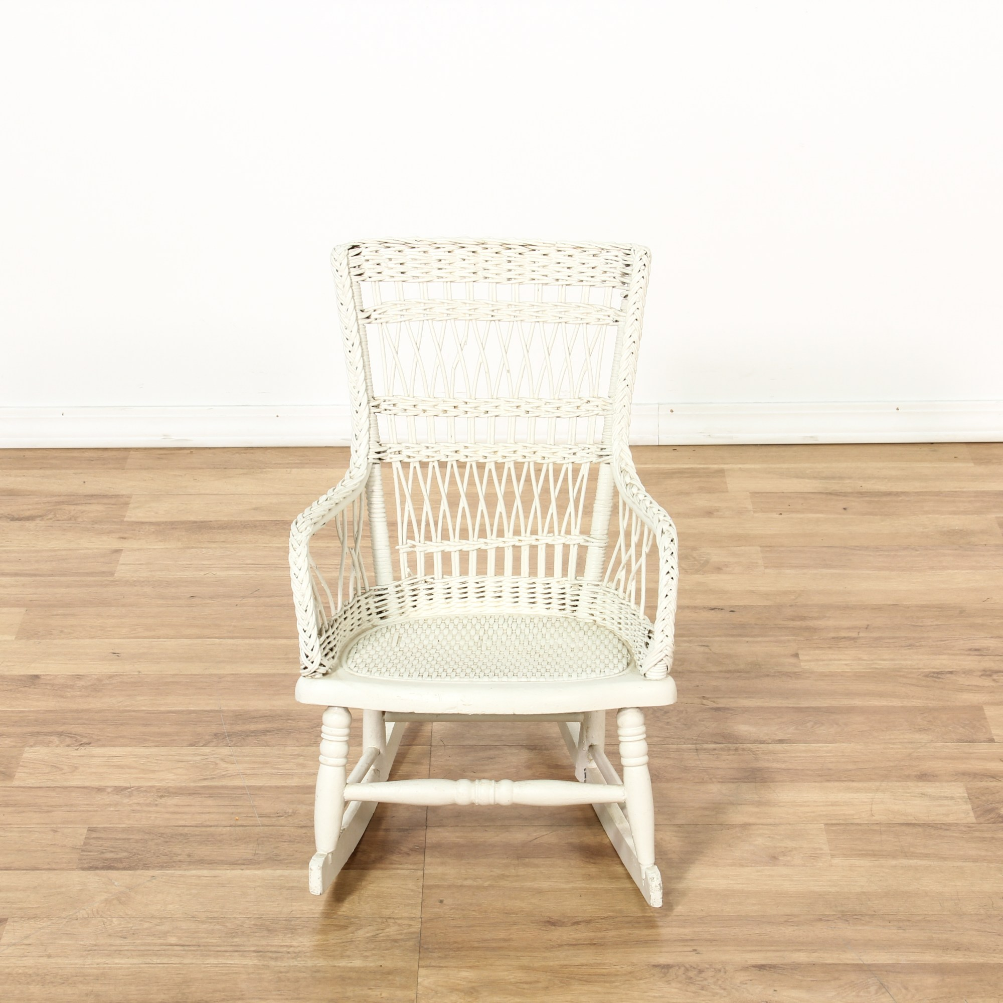White Wicker Rocking Chair Child 39s White Painted Wicker Rocking Chair Loveseat