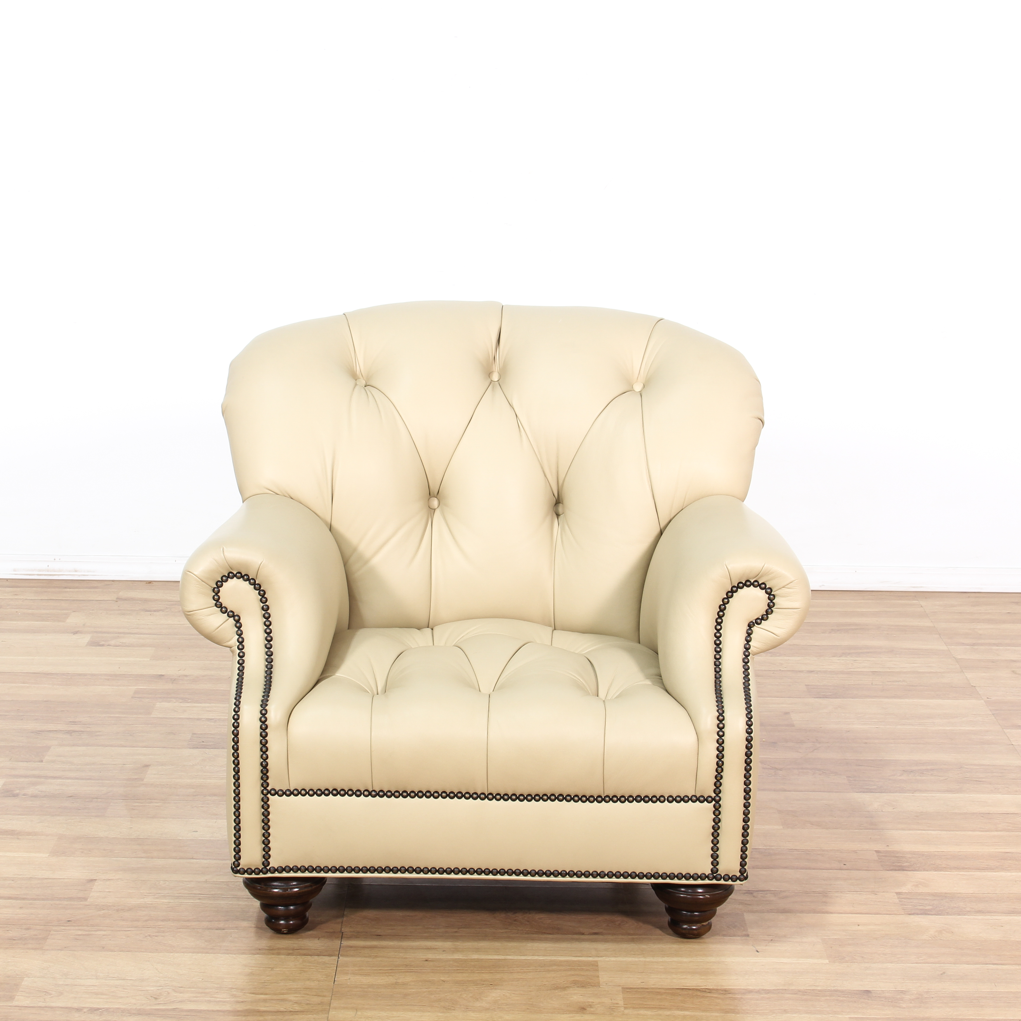 cream club chair recycled milk jug adirondack chairs fantastic leather button tufted