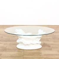 Glass Top Dolphin Sculpture Coffee Table | Loveseat ...