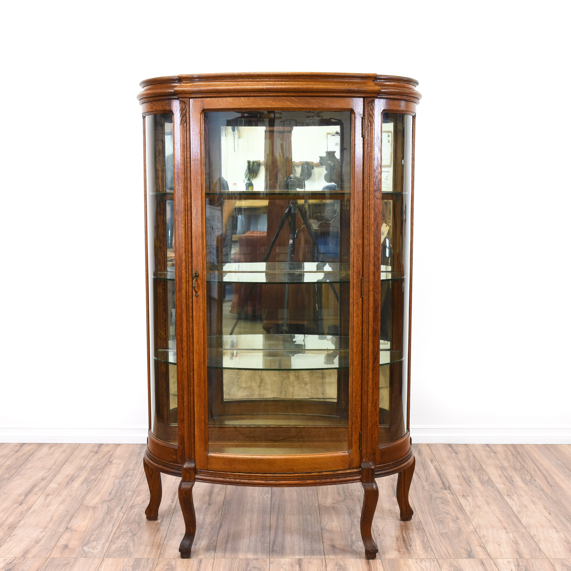 Victorian Curved Glass Curio Cabinet Loveseat Vintage