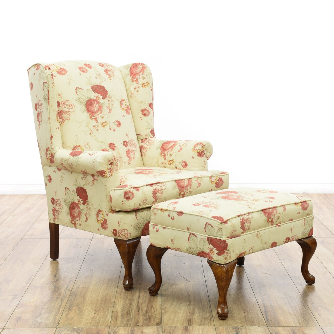 Floral Wingback Chair Floral Wingback Armchair And Ottoman 1 Loveseat Vintage