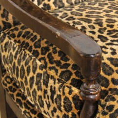 Leopard Print Accent Chair Low Beach Chairs Walmart Carved Wood Loveseat Vintage