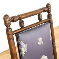 Walnut Carved Purple Floral Victorian Glider Chair
