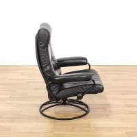 Contemporary Black Leather Swivel Lounge Chair | Loveseat ...