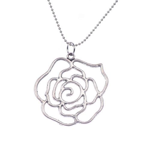 Tyylikäs hopeanvärinen ruususiluettikaulakoru