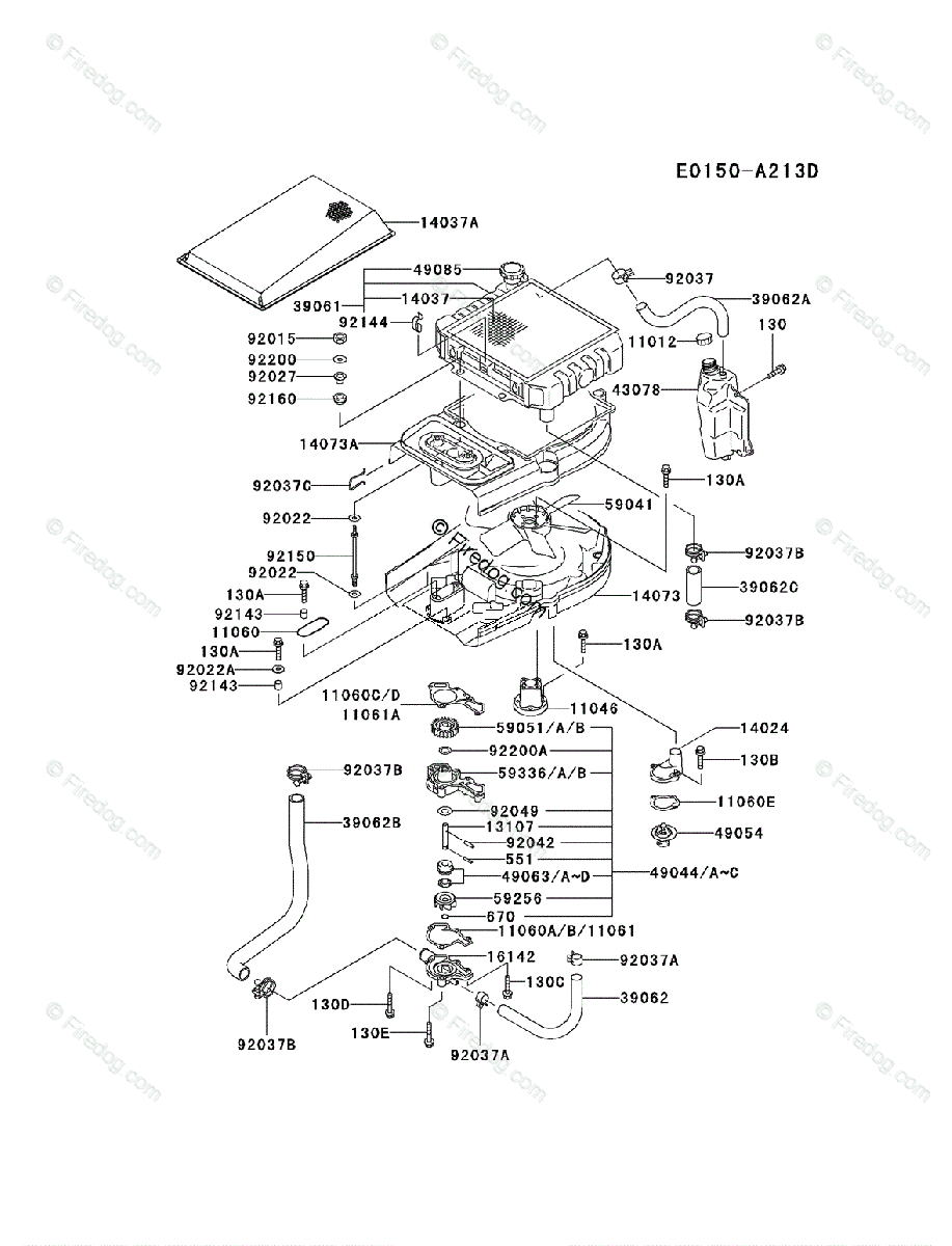 Kawasaki 4 Stroke Engine FD501V OEM Parts Diagram for