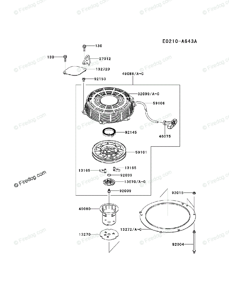 Kawasaki 4 Stroke Engine FS481V OEM Parts Diagram for