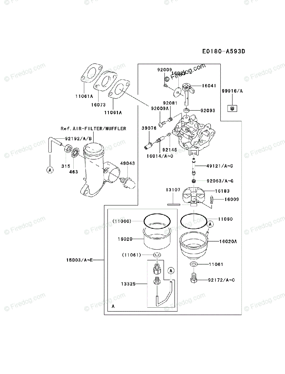Kawasaki 4 Stroke Engine FJ180V OEM Parts Diagram for