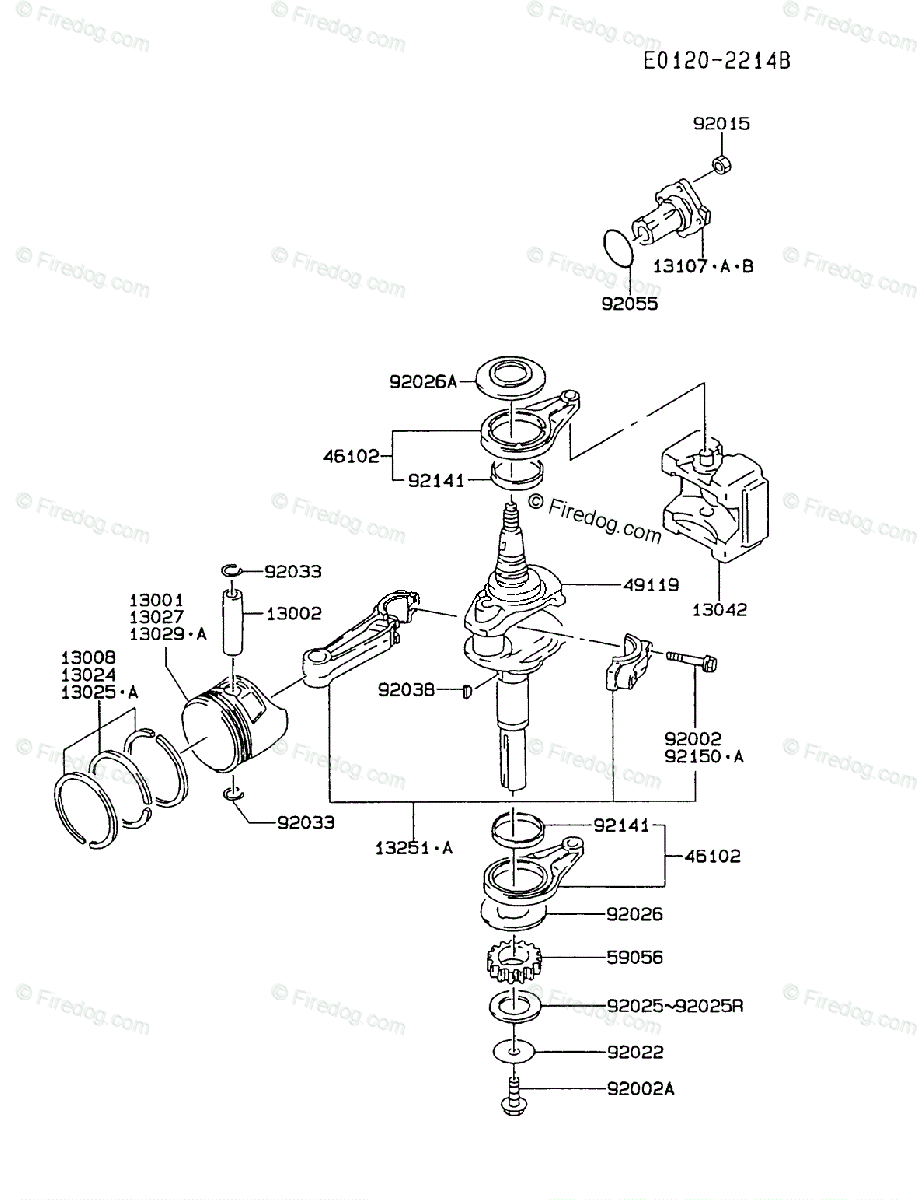 Kawasaki 4 Stroke Engine FC420V OEM Parts Diagram for