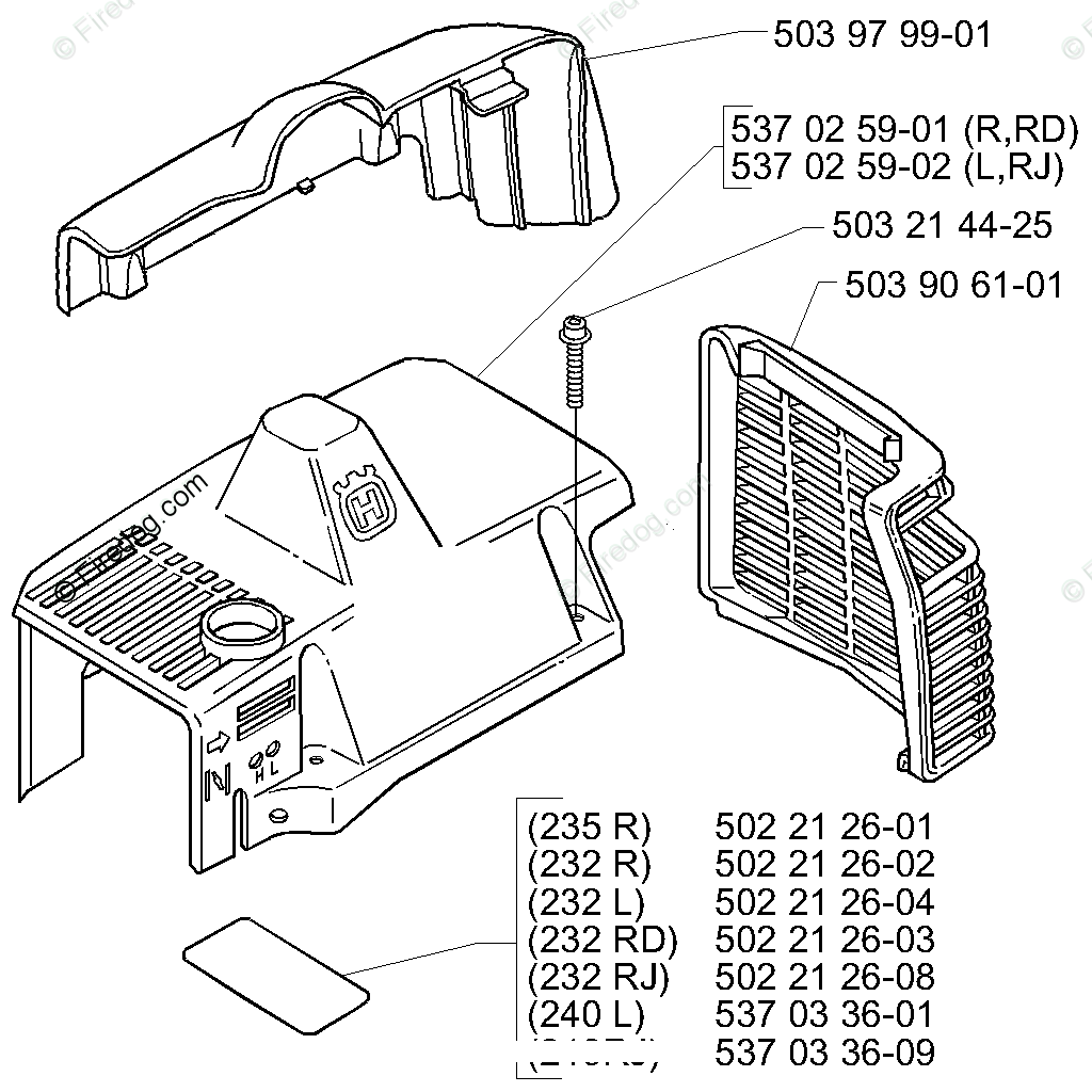 Husqvarna Line Trimmer 232 L (2000-04) OEM Parts Diagram
