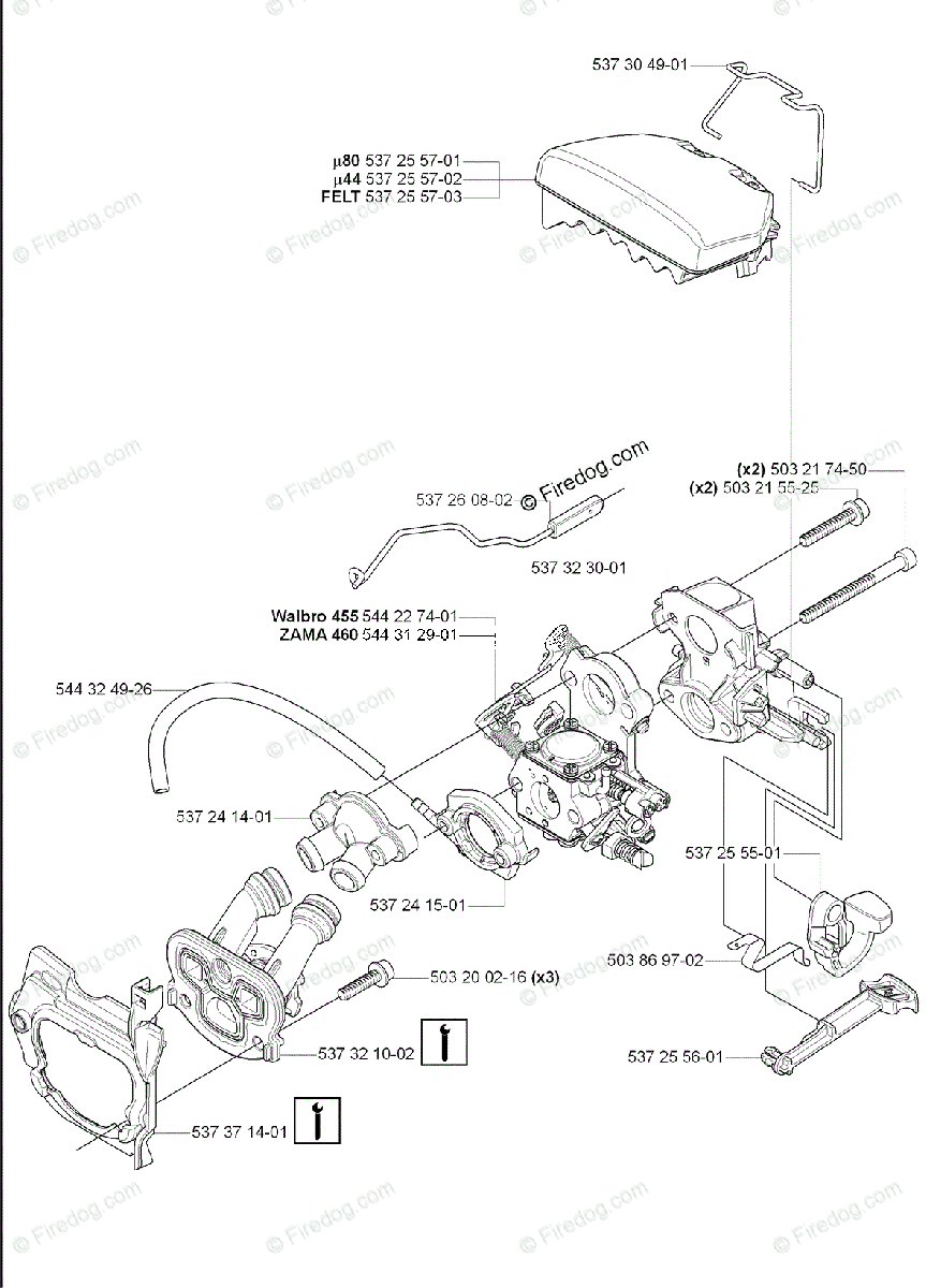 Husqvarna Chain Saw 460 (2007-01) OEM Parts Diagram for
