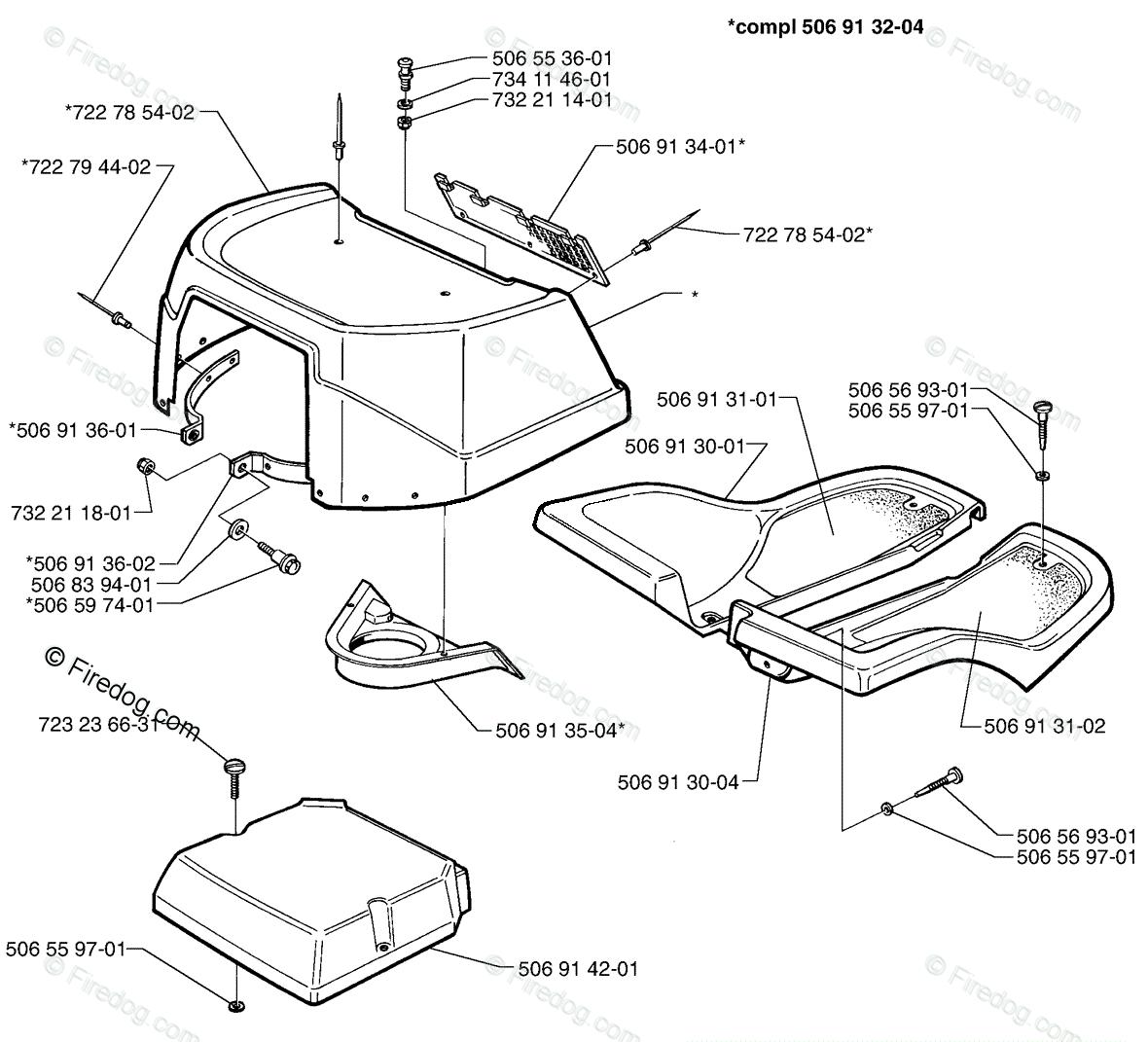 Husqvarna Ride Mower Rider 970 (1998-01) OEM Parts Diagram