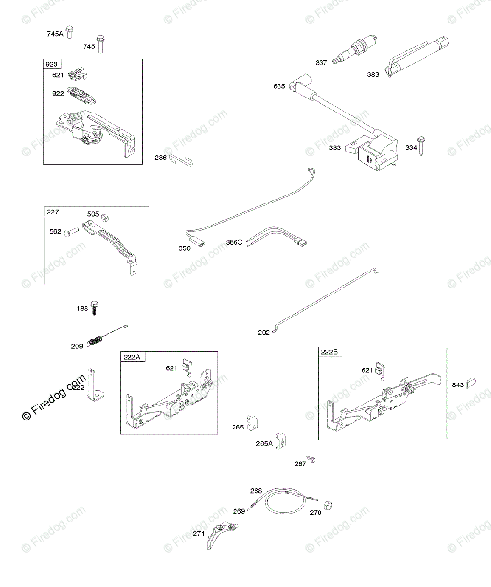 hight resolution of briggs stratton 020000 09z999 series 09p600 to 09p699 oem parts diagram for armature controls electrical system governor spring ignition spark plug