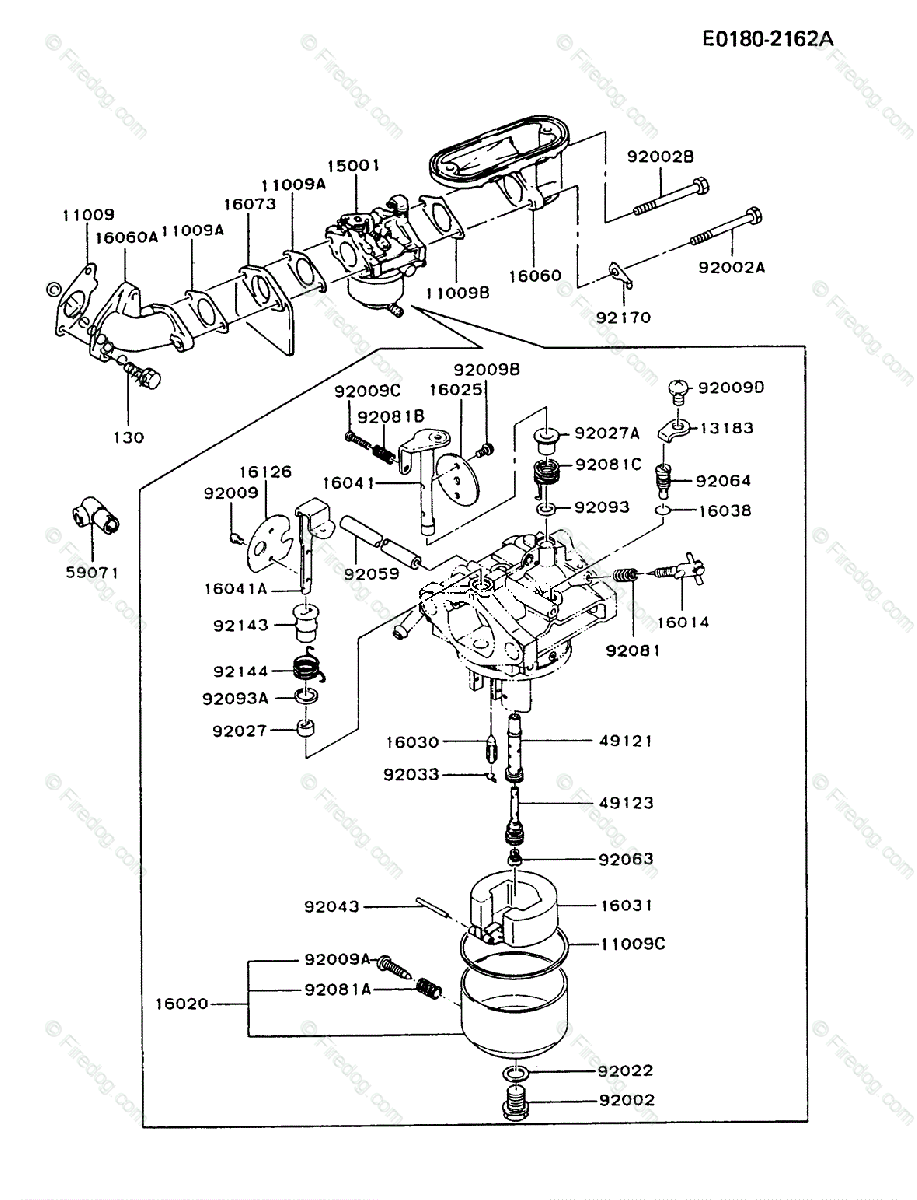 hight resolution of kawasaki 4 stroke engine fb460v oem parts diagram for carburetor firedog com