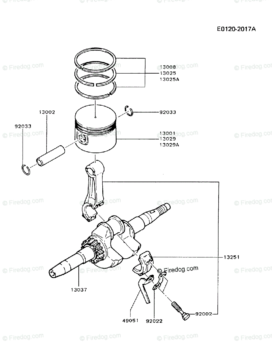 Kawasaki 4 Stroke Engine FA210D OEM Parts Diagram for