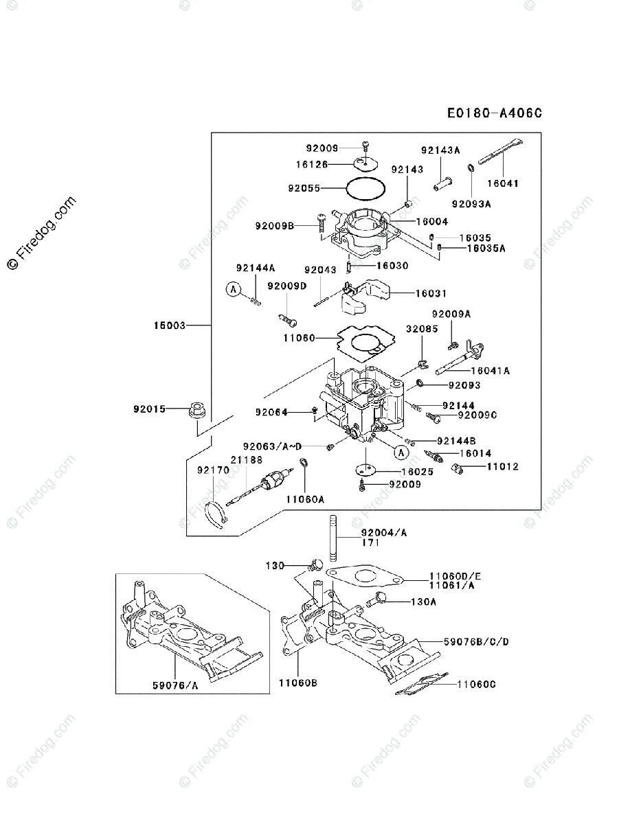 Kawasaki 4 Stroke Engine FD620D OEM Parts Diagram for