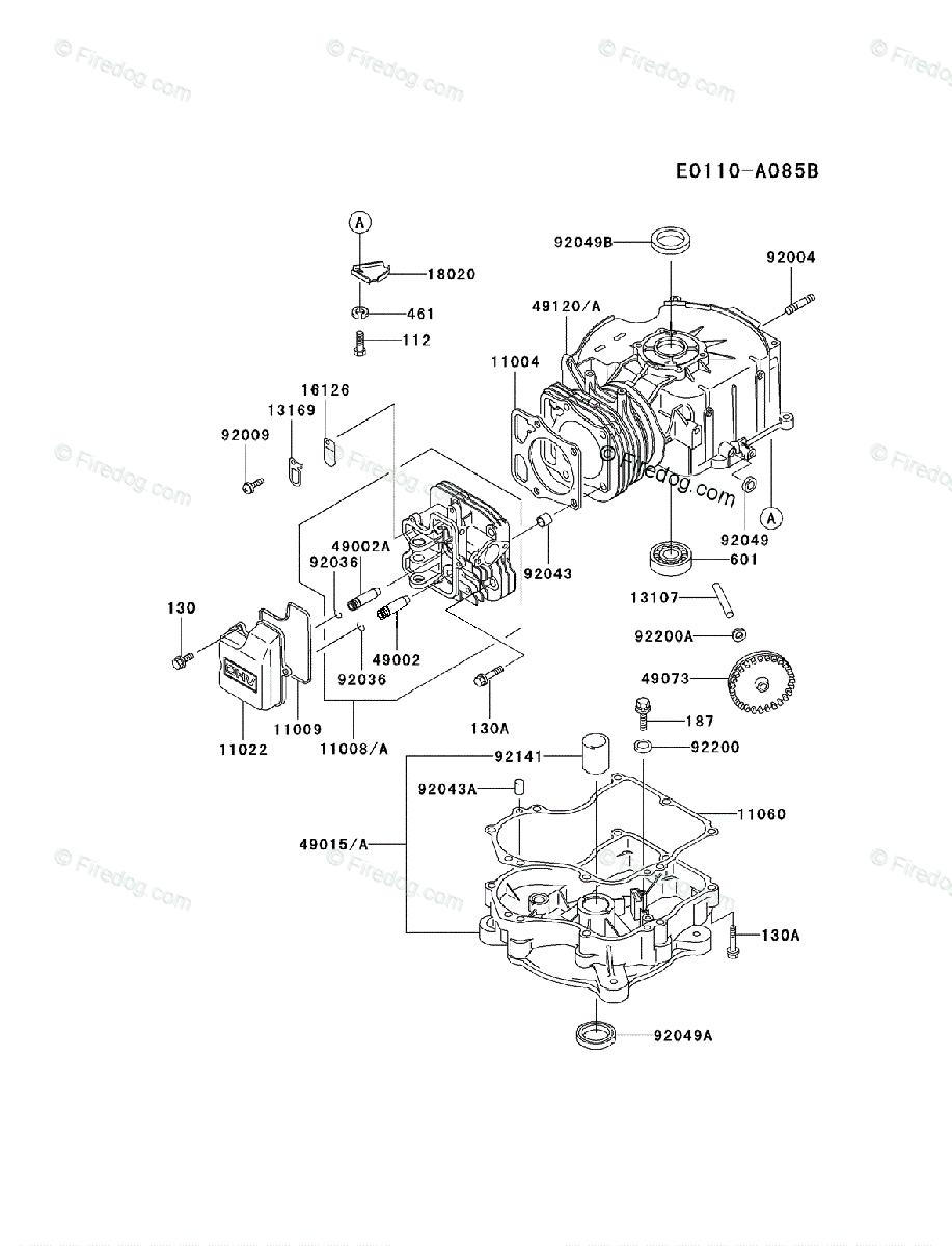 Kawasaki 4 Stroke Engine FC290V OEM Parts Diagram for