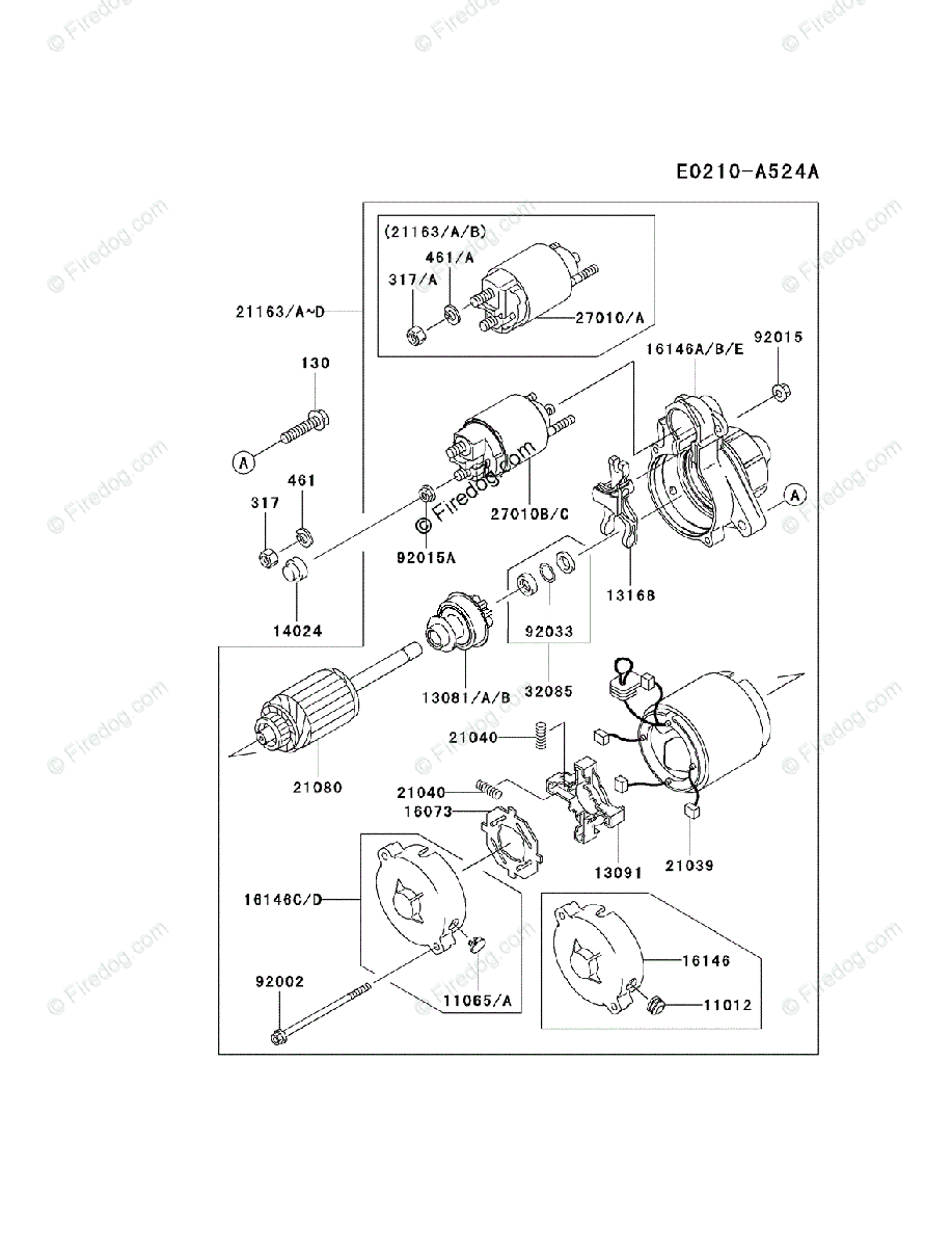 Kawasaki 4 Stroke Engine FD750D OEM Parts Diagram for