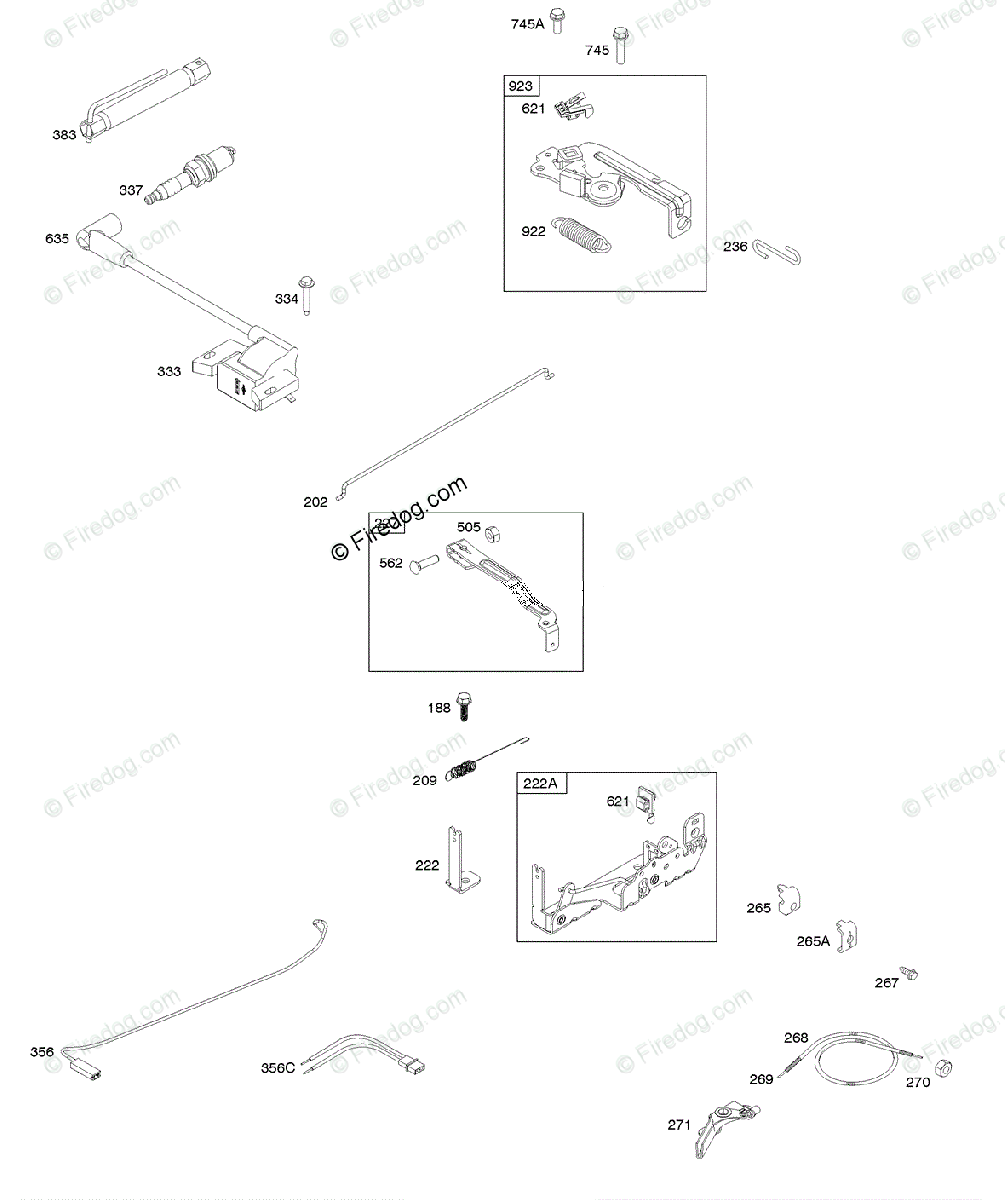 hight resolution of briggs stratton 020000 09z999 series 093j00 to 093j99 oem parts diagram for armature controls electrical system governor spring ignition spark plug