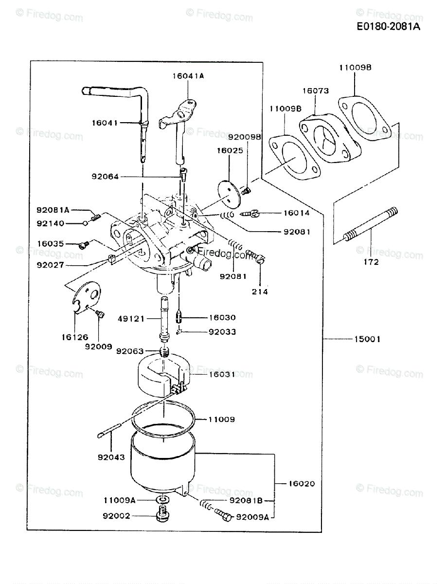 Kawasaki 4 Stroke Engine FG300D OEM Parts Diagram for