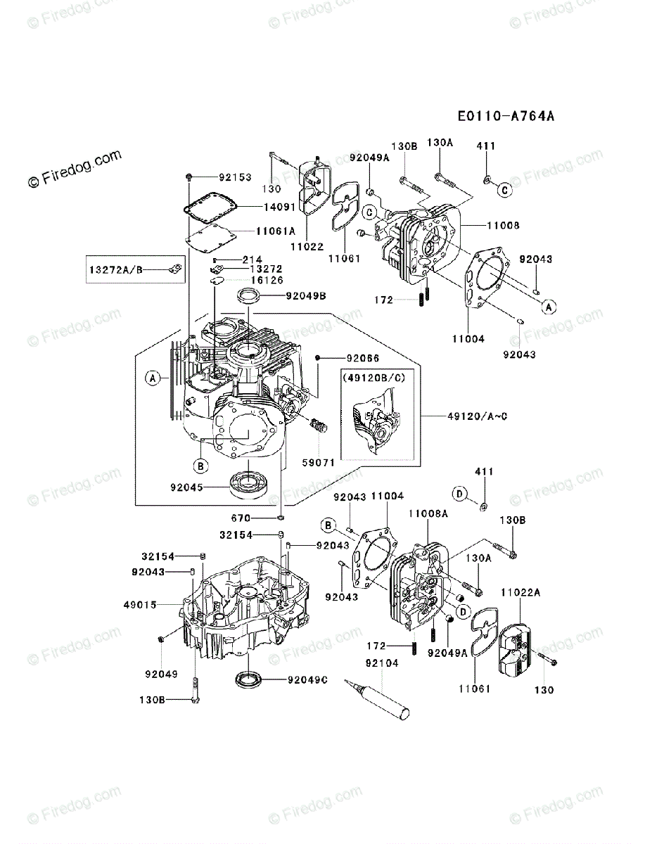 Kawasaki 4 Stroke Engine FX801V OEM Parts Diagram for