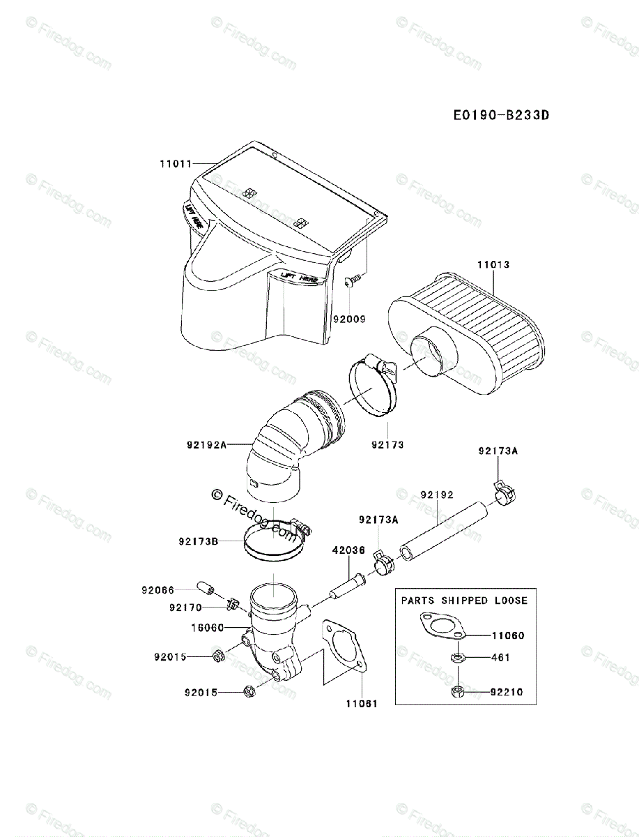 Kawasaki 4 Stroke Engine FR691V OEM Parts Diagram for AIR
