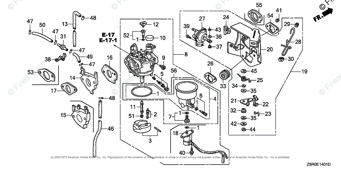 Honda Engines Engine GX OEM Parts Diagram for CARBURETOR