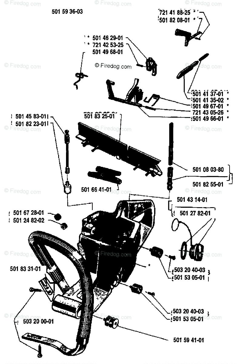 Husqvarna Chain Saw 444 (1984-01) OEM Parts Diagram for