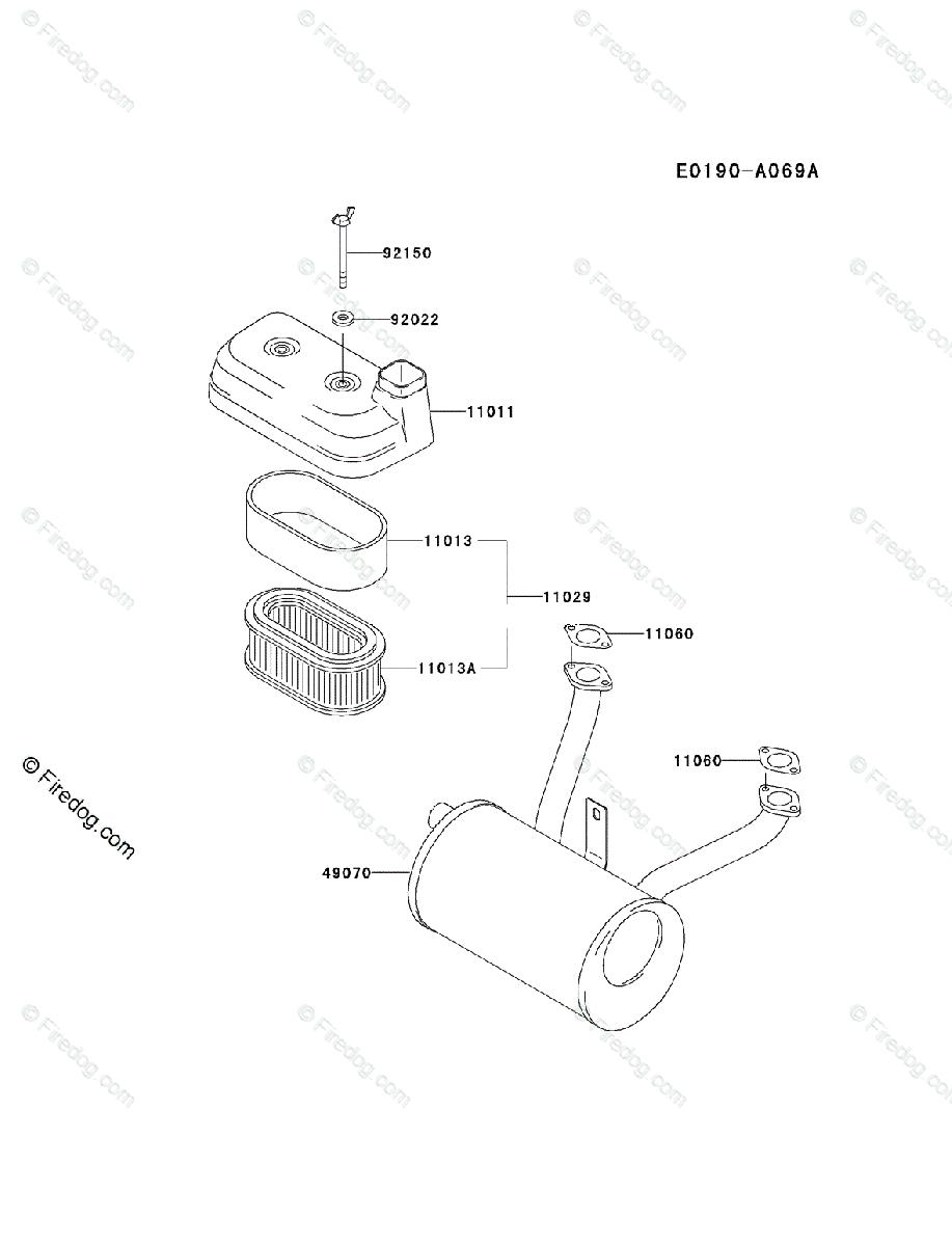 Kawasaki 4 Stroke Engine FD590V OEM Parts Diagram for AIR