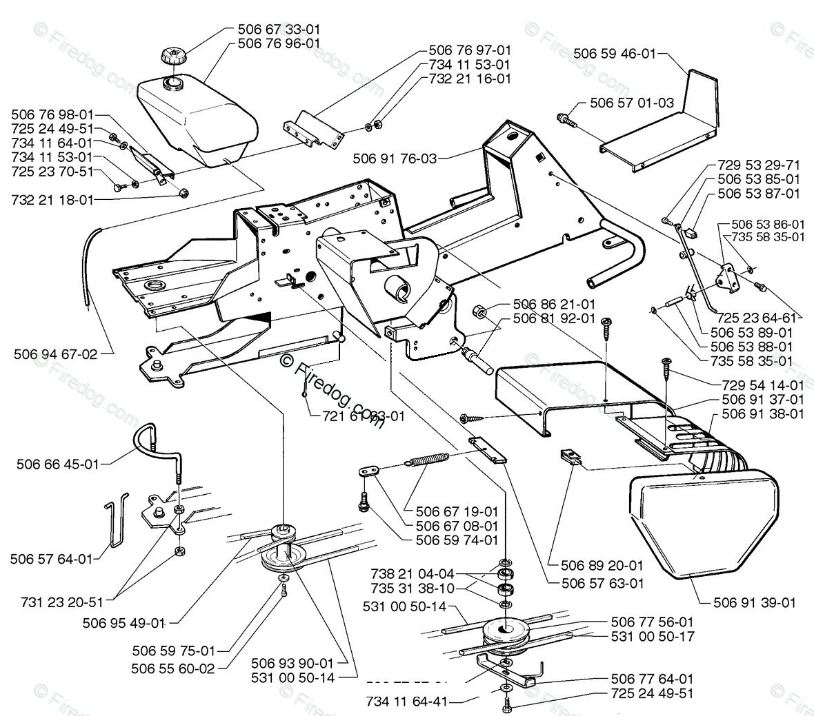 Husqvarna Lawn Mower Rider 970 HST (1997-02) OEM Parts