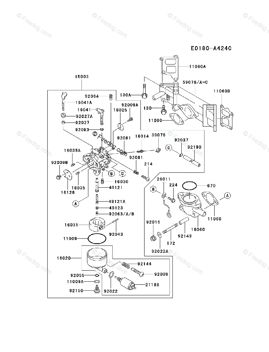 Kawasaki 4 Stroke Engine FD590V OEM Parts Diagram for
