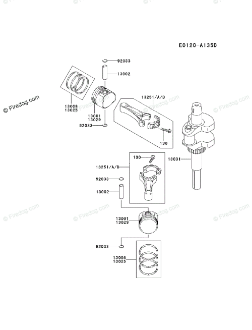 small resolution of kawasaki 4 stroke engine fh500v oem parts diagram for piston crankshaft firedog com