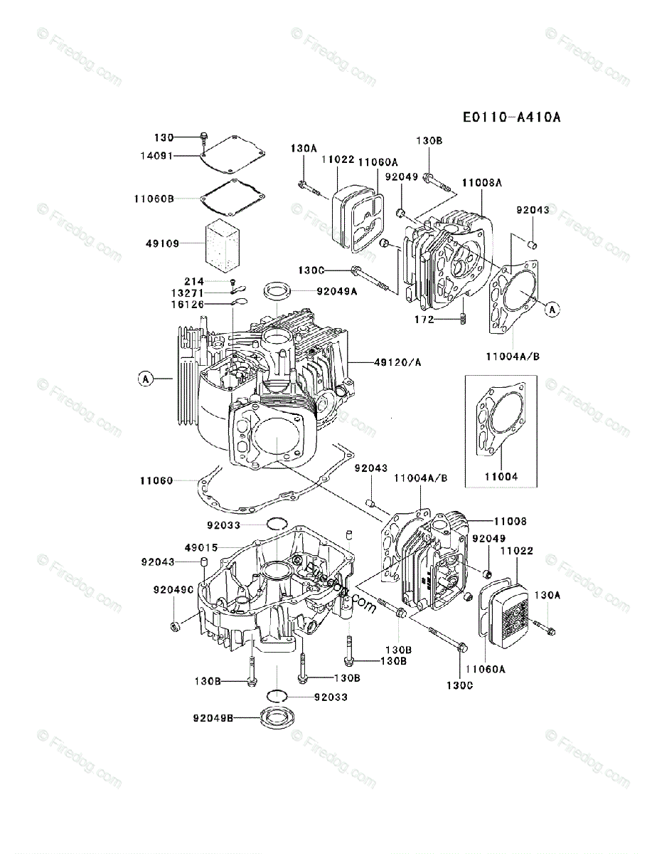 Kawasaki 4 Stroke Engine FH721V OEM Parts Diagram for